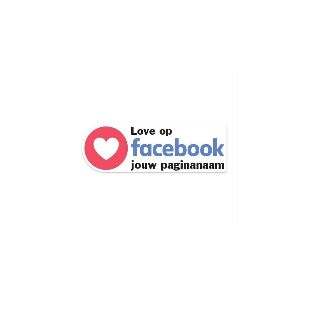Facebook Love sticker eigen bedrijfsnaam