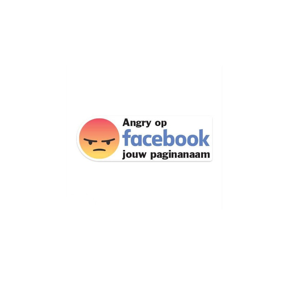Facebook Angry sticker eigen bedrijfsnaam