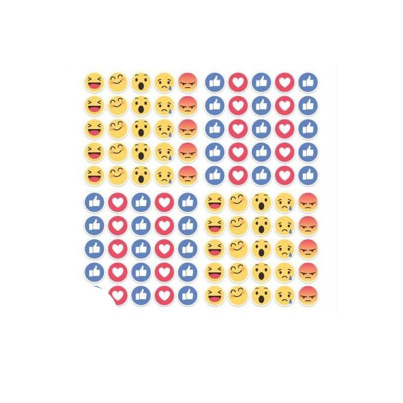 Facebook nieuwe Like Reacties 2x2cm set 100 stuks ronde stickers