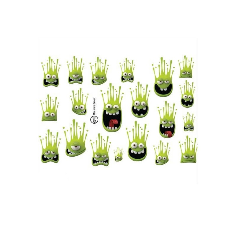 Fietsstickers monsters set Groen