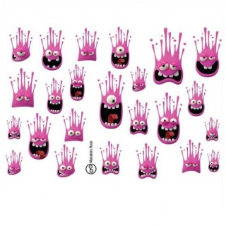 Fietssticker set Monsters Roze
