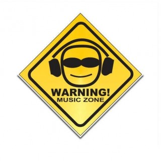 Warning music zone funny sticker