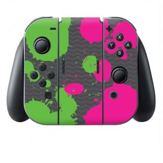 Splat Green Pink Switch Joy-Con + Grip Skin