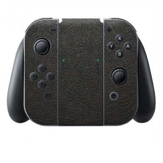Zwart Leer Switch Joy-Con + Grip Skin