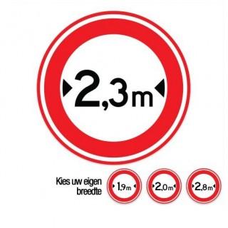 C18 Gesloten voor voertuigen boven deze breedte verkeersbord sticker