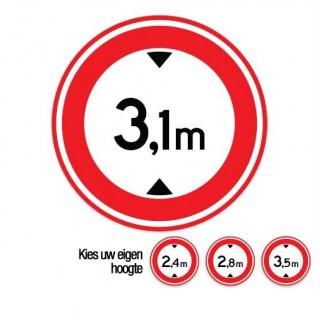 C19 Gesloten voor voertuigen boven deze hoogte verkeersbord sticker