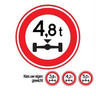 C20 Gesloten voor voertuigen boven dit totaal aslast verkeersbord sticker