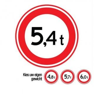 C21 Gesloten voor voertuigen boven dit totale gewicht verkeersbord sticker