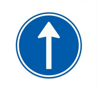 D04 Gebod tot het volgen van de aangegeven rijrichting verkeersbord sticker