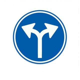 D07 Gebod tot het volgen van een van de aangegeven rijrichtingen verkeersbord sticker