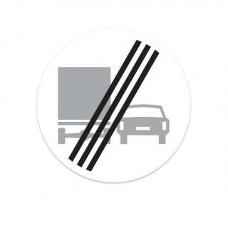F04 Einde verbod voor vrachtauto's om motorvoertuigen in te halen verkeersbord sticker
