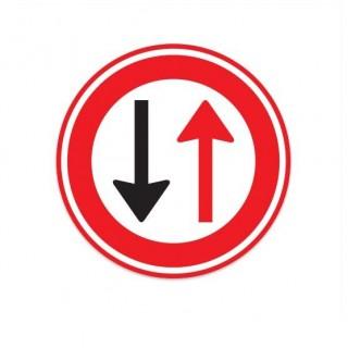 F05 Verbod voor bestuurders door te gaan bij nadering van verkeer uit tegengestelde richting verkeersbord sticker