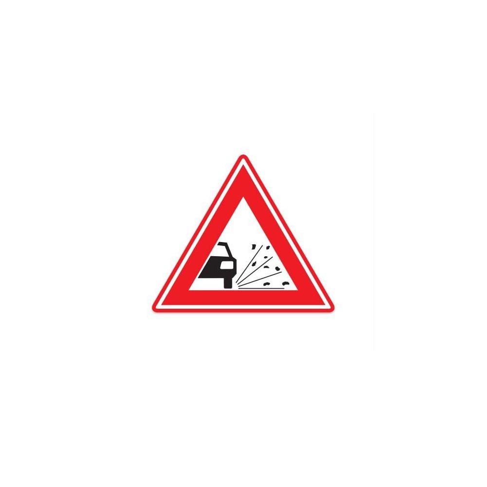 J25 Waarschuwing voor losliggende stenen verkeersbord sticker