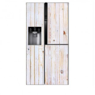 White Wash houten planken Amerikaanse koelkast sticker