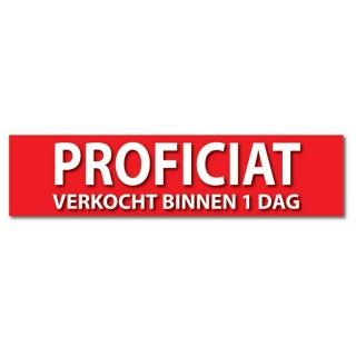 Makelaardij sticker Proficiat! verkocht binnen 1 dag