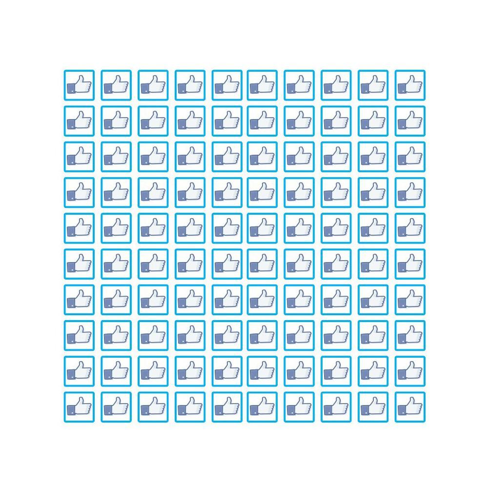 Facebook set van 100 stuks Vierkant Like of Dislike Stickers