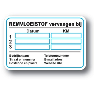 Remvloeistof Service Onderhoud stickers