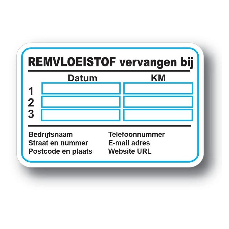 Remvloeistof Service Onderhoud stickers met eigen bedrijf gegevens