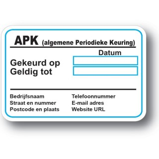 APK Service Onderhoud stickers