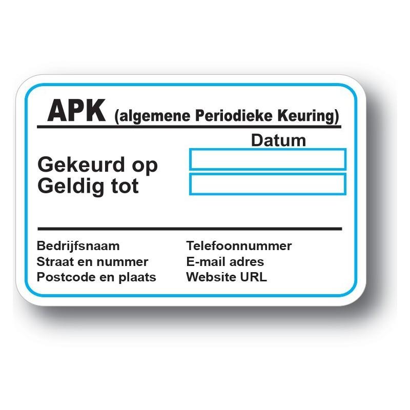 APK Service Onderhoud stickers met eigen bedrijf gegevens