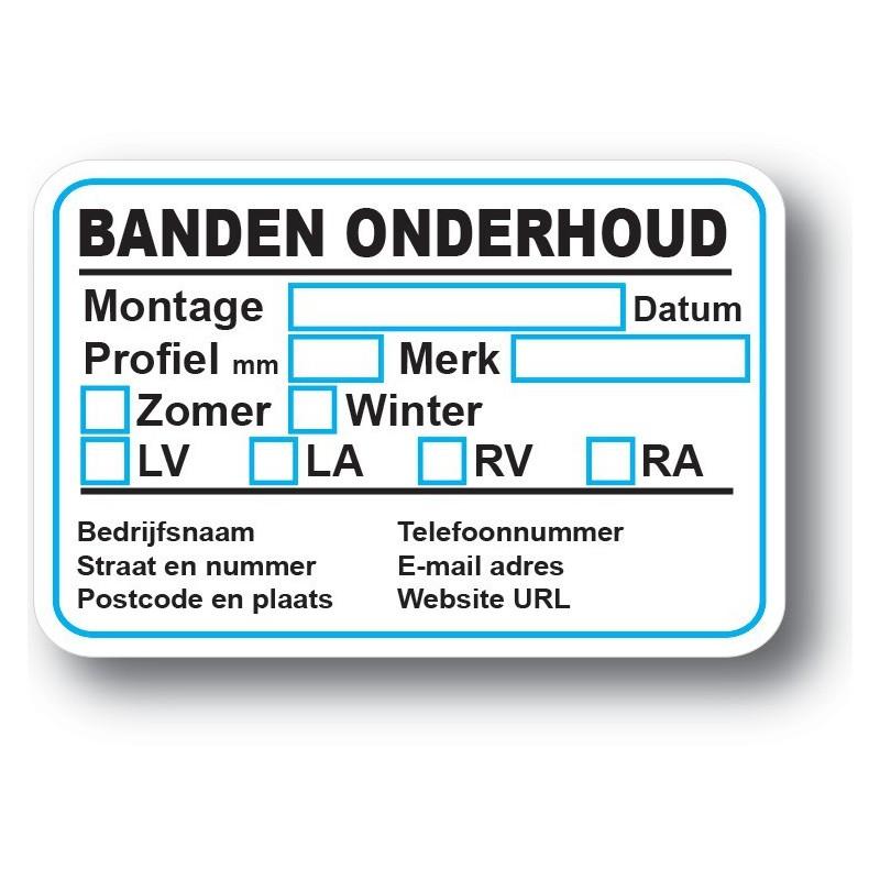 Banden Service Onderhoud stickers met eigen bedrijf gegevens