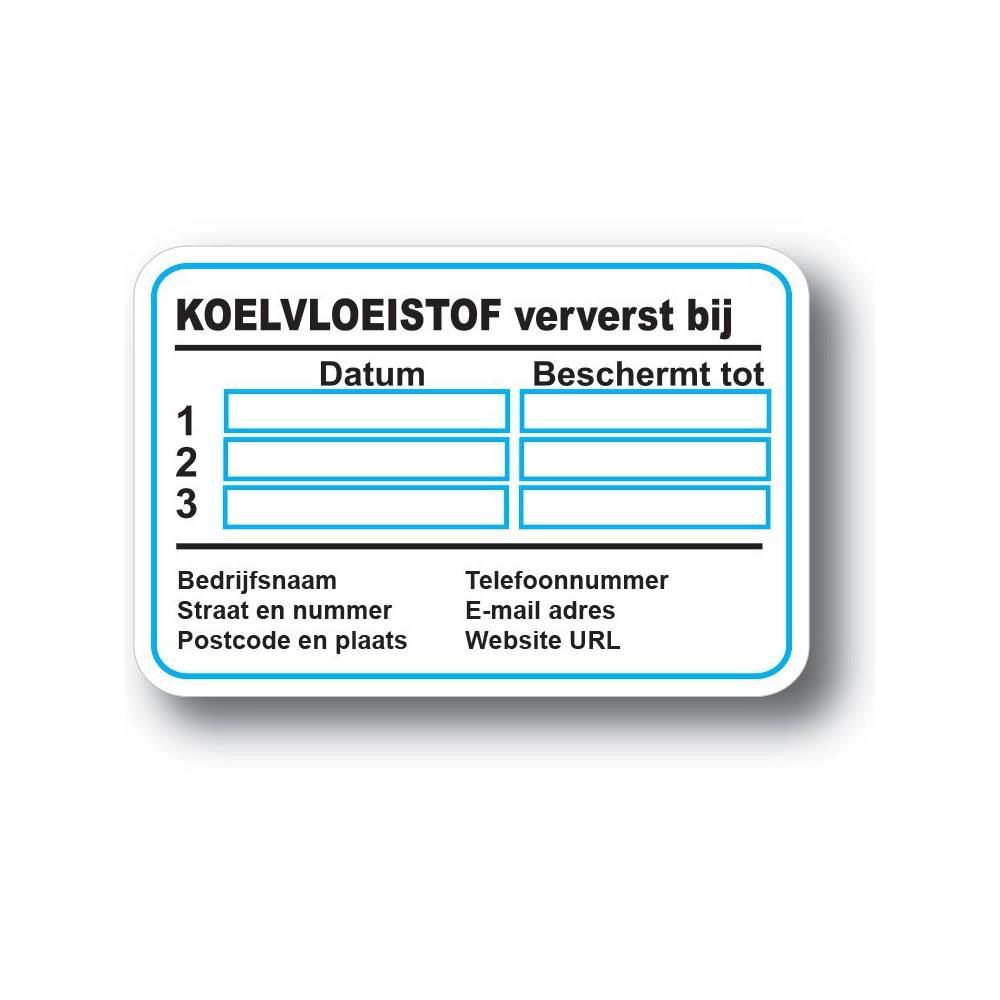Koelvloeistof Service Onderhoud stickers