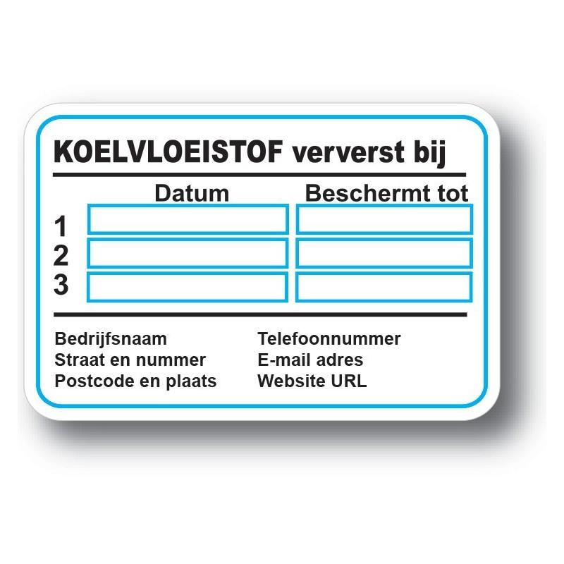 Koelvloeistof Service Onderhoud stickers met eigen bedrijf gegevens
