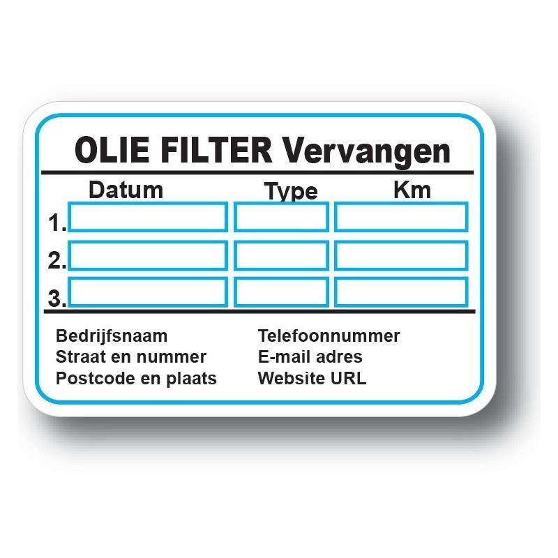 Olie Filter Service Onderhoud stickers met eigen bedrijf gegevens