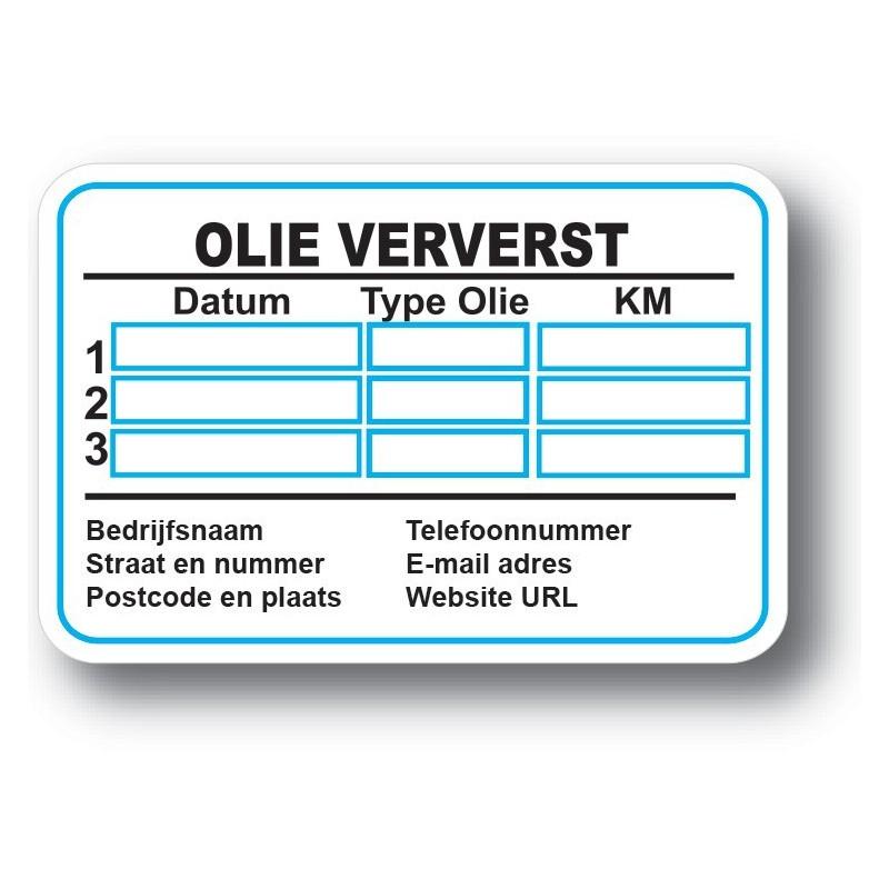 Olie Verversen Service Onderhoud stickers
