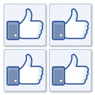 Facebook Sticker set like button foto op een deur