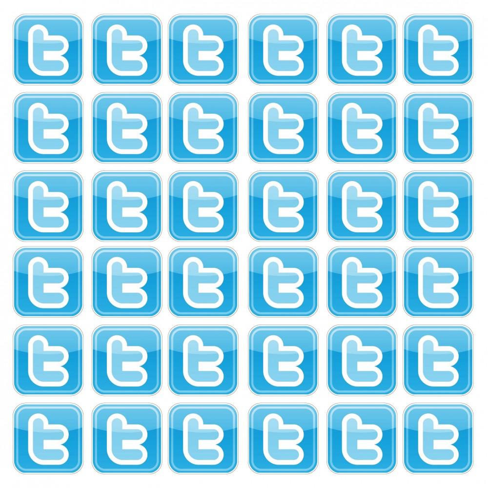 Twitter set van 50 stuks 5cm vierkant