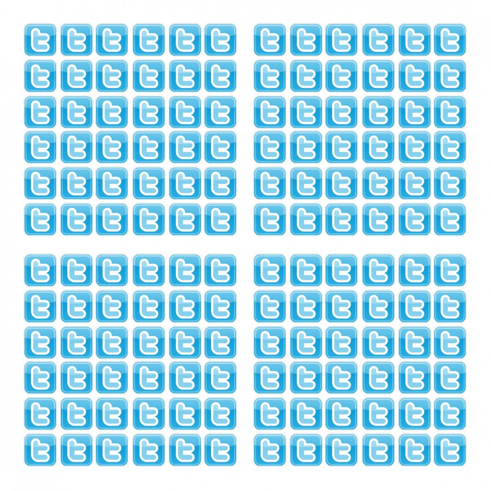 Twitter T stickers 2cm 100 stuks Vierkant