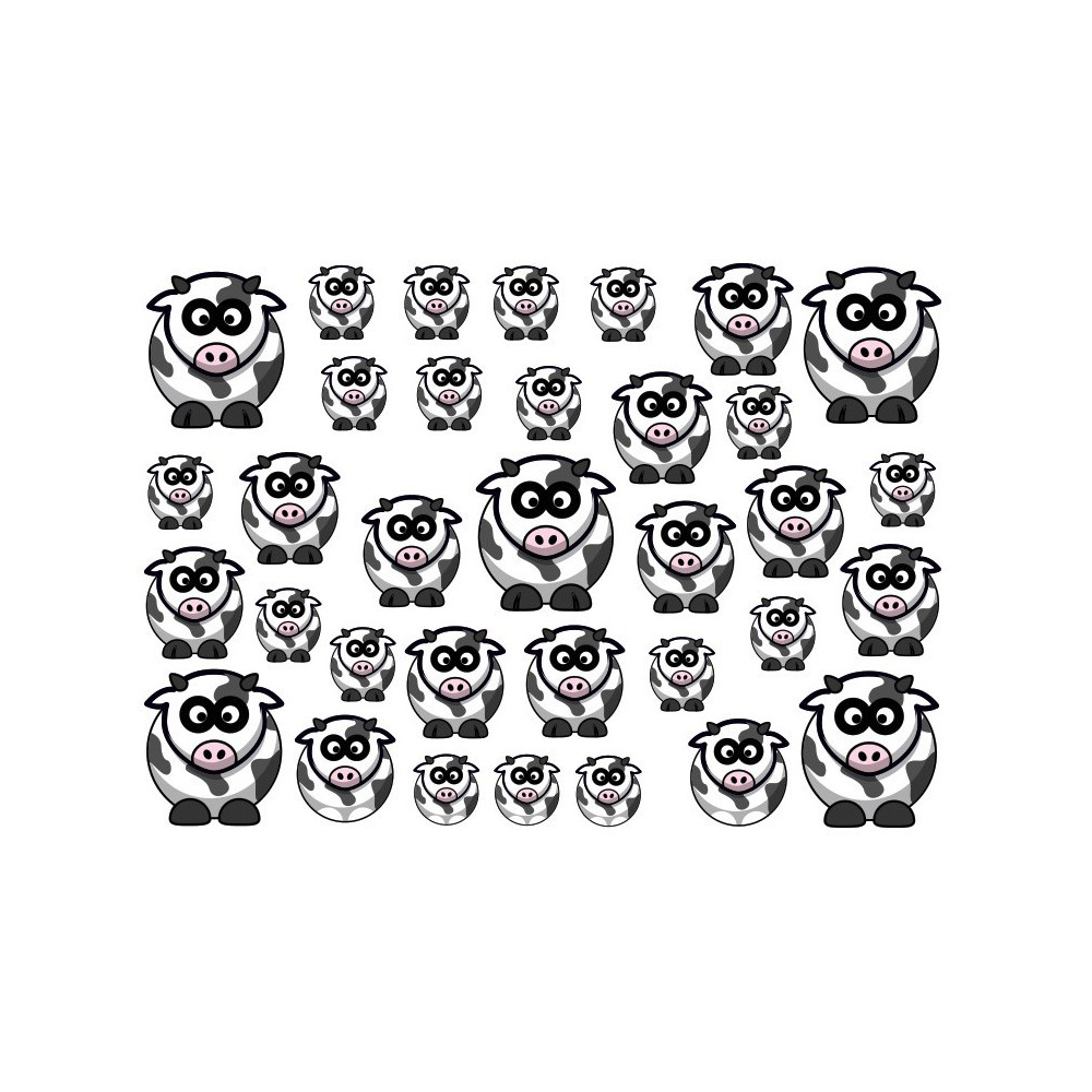 Koeien Zwart Fiets stickers