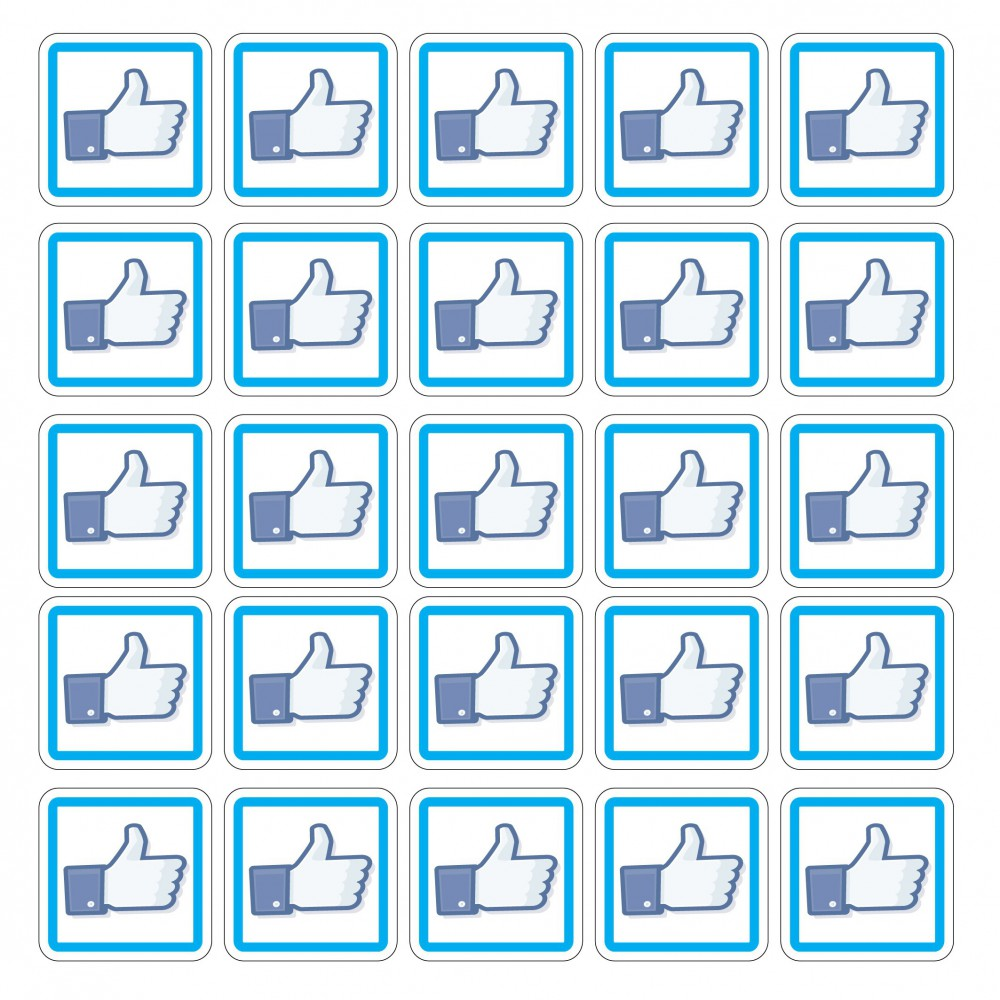 Facebook Like 5x5 set van 50 stuks vierkant