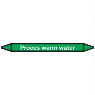 Proces-warm-water Pictogramsticker Leidingmarkering