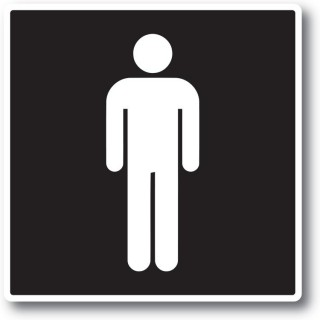 Man toilet sticker Zwart Wit
