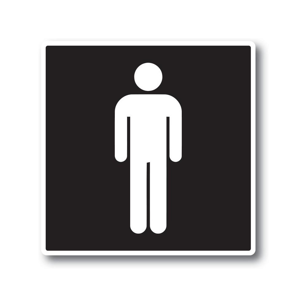 Man toilet sticker Zwart Wit