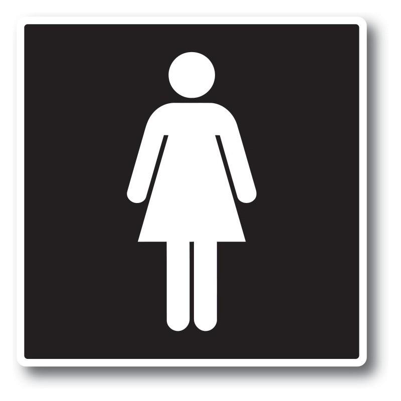 Vrouw toilet sticker zwart wit
