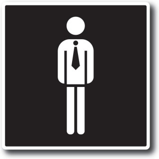 Gentleman toilet sticker zwart wit