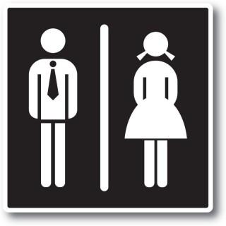 Vrouw man toilet sticker zwart wit