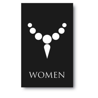 Toilet sticker women ketting zwart