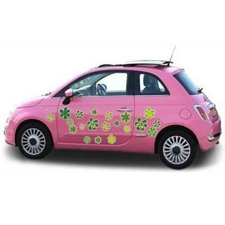 Groene auto Bloemen sticker
