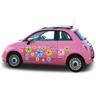 Felle kleuren auto bloemen sticker