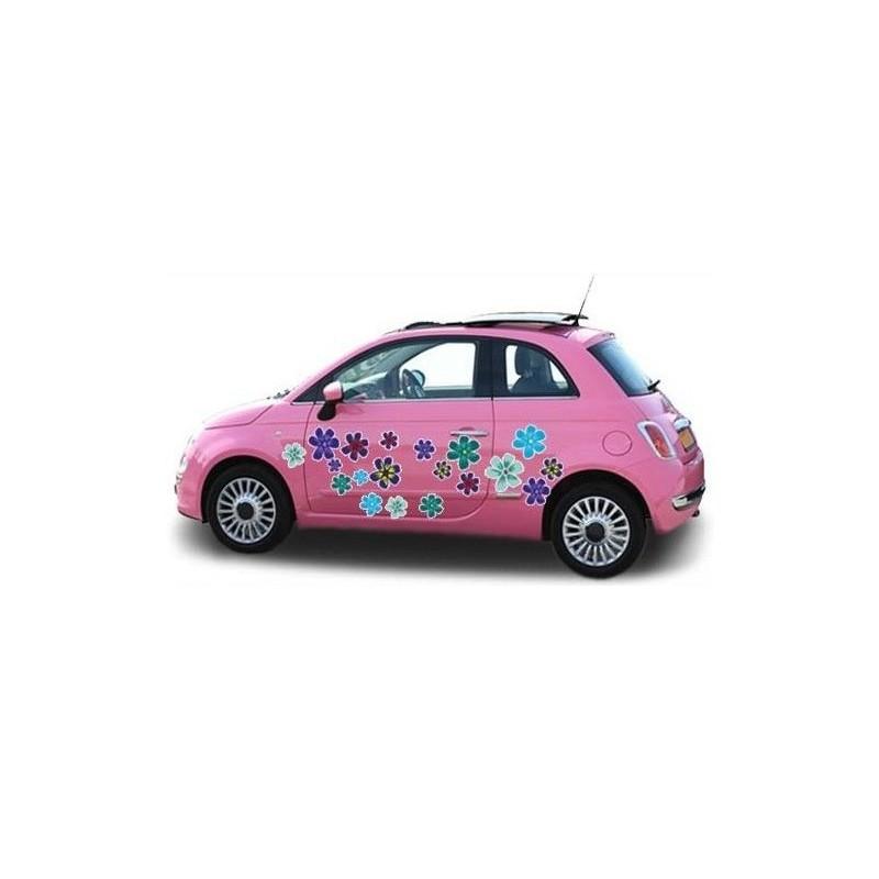 Vrolijke auto bloemensticker