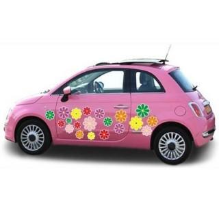 Kleurvolle auto bloemenstickers