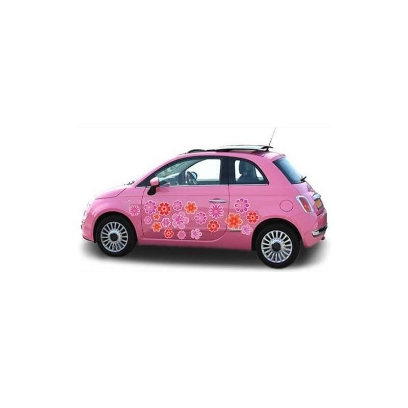Paars roze auto bloemensticker