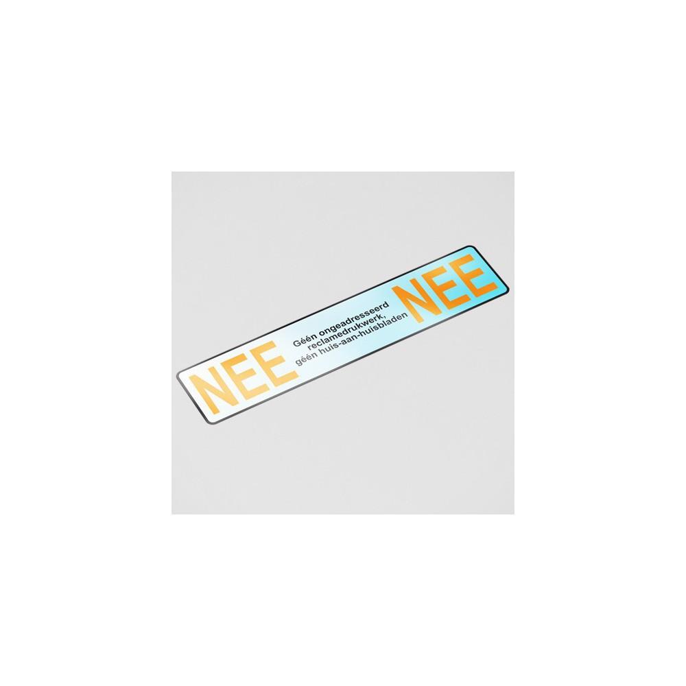 Luxe Nee Nee sticker brievenbus chroom