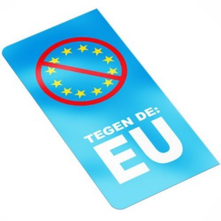 Tegen de EU sticker kentekenplaat