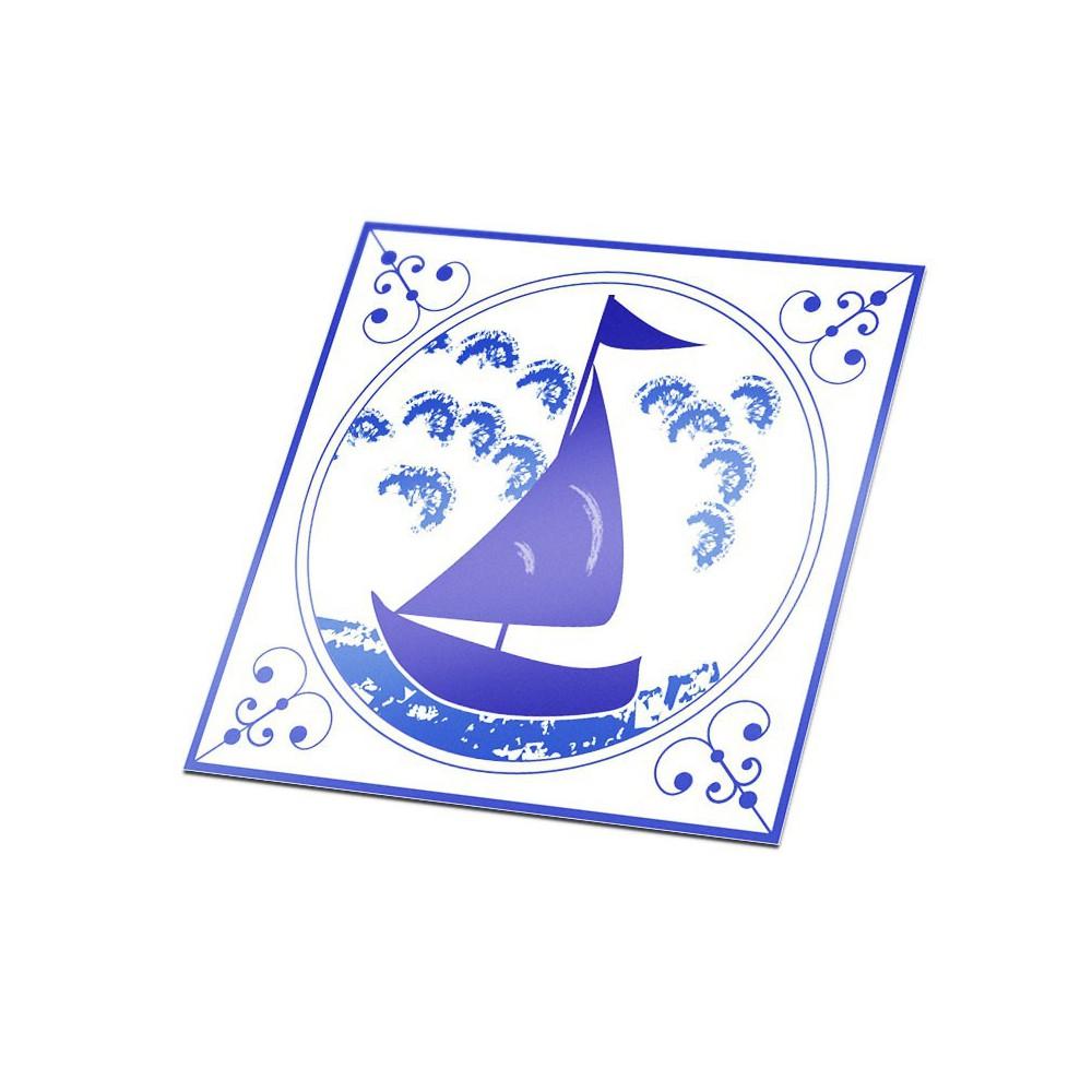 Tegelsticker zeilboot Delfts Blauw