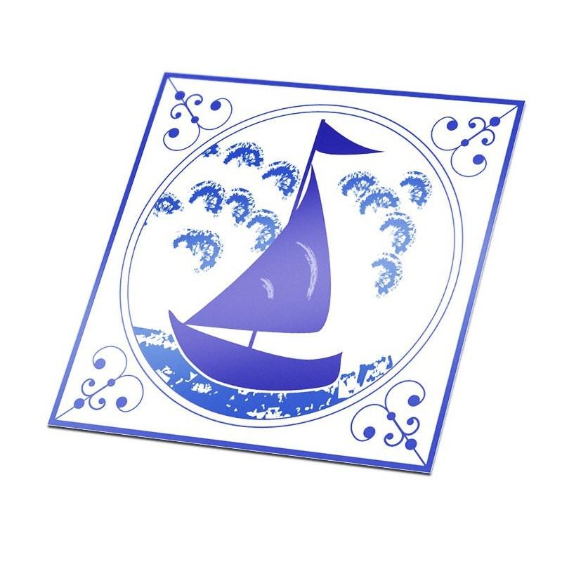 Tegelsticker Delfts Blauw zeilboot